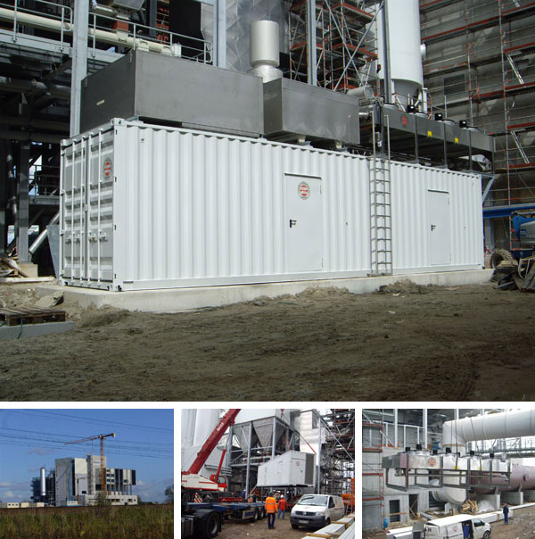 Generators and standby power supply systems: Containerised and silenced emergency power generator set with top mounted outdoor radiator and exhaust system. Power: 2320 kVA