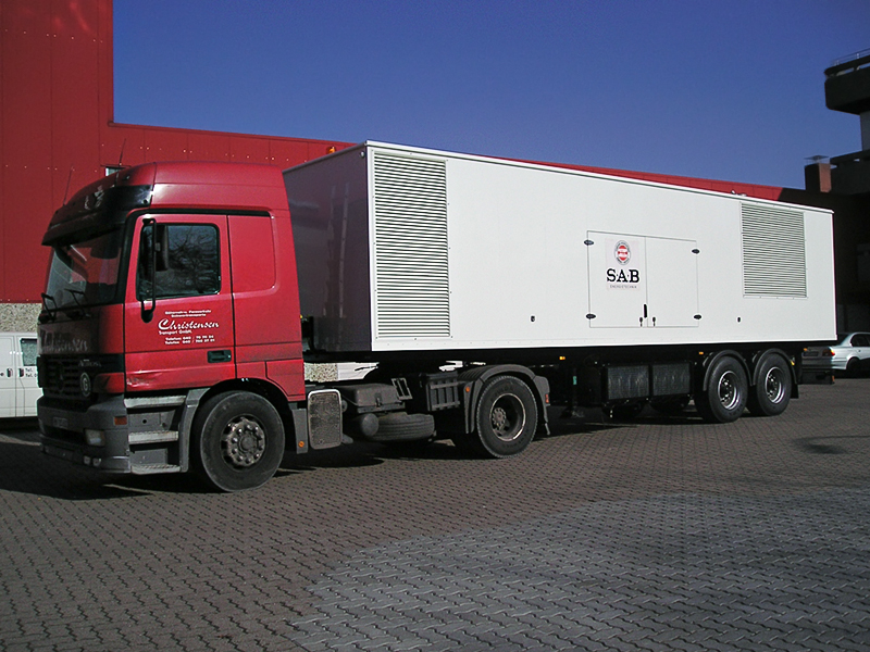1000 kVA Generating Set on a semi-trailer, super-silenced, electrical control system.