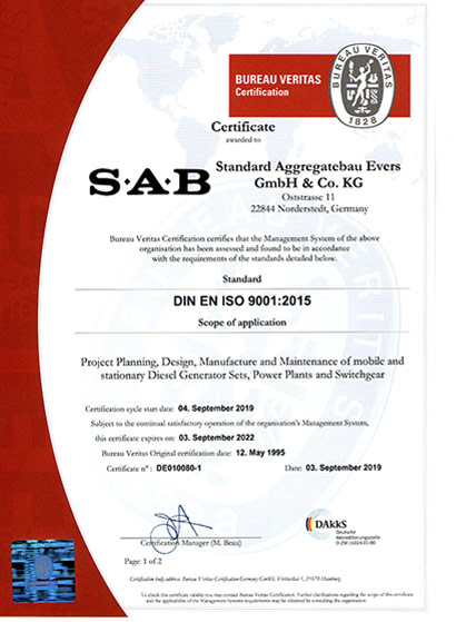 QM Certificate of SAB Norderstedt/Hamburg: Project planning, design, manufacture and maintenance of mobile and stationary diesel generating sets, power plants and switchgear""