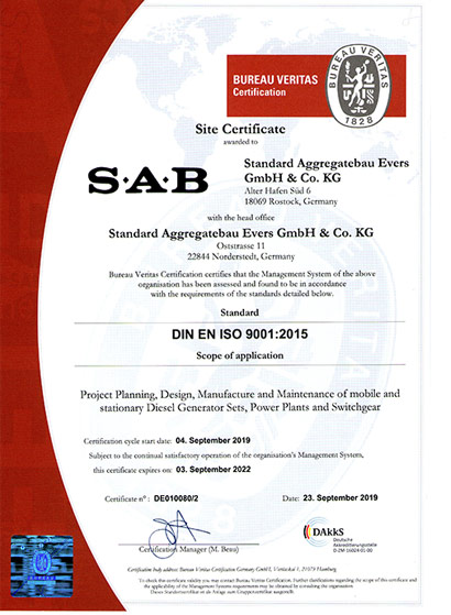 QM Certificate of SAB Rostock: Project planning, design, manufacture and maintenance of mobile and stationary diesel generating sets, power plants and switchgear